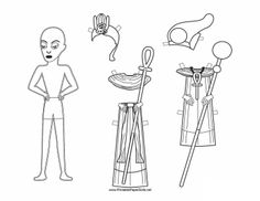 A scowling Egyptian paper doll man carries a staff and can be colored. Free to download and print