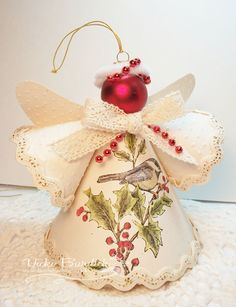 paper angel christmas ornaments- would like to try this craft with old Christmas cards