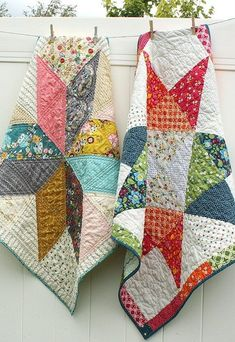 Easy DIY Star baby quilt tutorials - two versions of a simple design to make a quick quilt. Great for beginners. Uses 10 precut (layer-cake) squares.)
