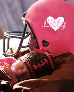 Baby Girl Football Hat, Crochet Newborn Hat, Crochet Pink and Brown Football Hat on Etsy, $20.00
