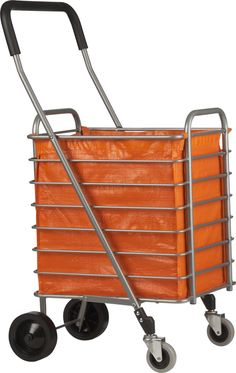 would make it easier to want to walk to the grocery store or buy more at farmers market. Folding Shopping Cart with Orange Cart Liner in Carts Folding Shopping Cart, Folding Cart, Shopping Carts, Small Space Organization, Art For Art Sake, Kitchen Cart, Crate And Barrel, Getting Organized, Kitchen Gadgets