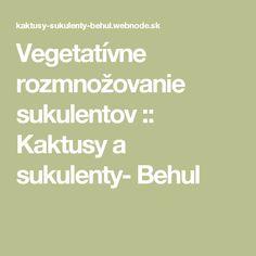 Vegetatívne rozmnožovanie sukulentov :: Kaktusy a sukulenty- Behul
