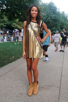 Dress: Forever 21 Shoes: Timberland with DIY studs   - ELLE.com