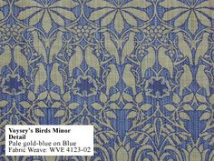 minor weave pale gold-blue on blue birds design originally created by English architect C.F.A. Voysey circa 1900.