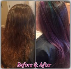 Before & after.  Oil slick