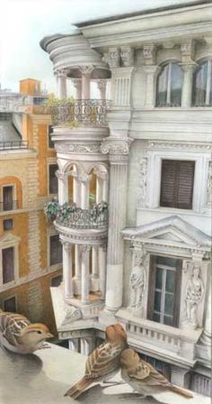 color pencill Italian landscape painting of architecture, balcony and sparrows