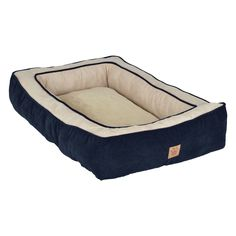 Snoozzy Chevron Chennille Gusset Low Bumper Floor Bolster Dog Bed