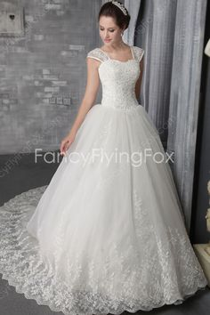 Double Straps Ball Gown Full Length Celebrity Wedding Dresses With Lace Appliques at fancyflyingfox.com