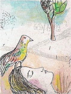 le-reve-de-l-oiseau-  Estelle Lacombe  Grabado pintado con acuarela