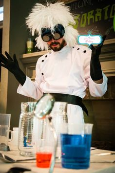 """Mad Scientist character at """"Radley's 6th Birthday Experiment"""""""