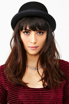 Wool Bowler Hat   plus this model's hair!! love it
