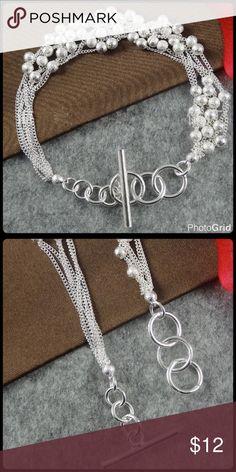 Silver Plated Bracelet Adjustable length, brushed sliver plated beads. Jewelry Bracelets