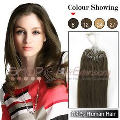 22 Inch 100s Indian Micro Loop Ring Grade AAA Remy Hair Extensions (#8 Light Brown)