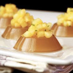 Pineapple Brandy Fix Jelly Shot, with a tasty little pineapple-topped bite      Read more: http://www.austinweddingblog.com/2010/11/wedding-trend-watch-jelly-shots.html#ixzz20zol3XtI