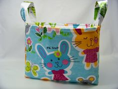 PK Fabric Basket in Some Bunny Loves You in Aqua  by PKStuff, $14.50