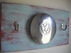 VW hubcap wall hook Vintage cottage chic by ruralurbanliving, $39.00