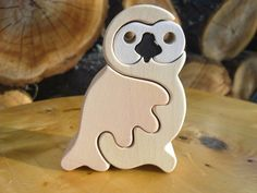 Snow owl-Montessori - Waldorf wooden puzzle, made by hand of maple wood,no harmful colors and no lacquer
