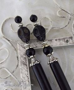 b6907bf44 Gothic Skull Hairsticks   Day of the Dead Hairsticks   Skull hairsticks,  gothic hair stick, bone hairstick, long hair jewelry, for women BFS