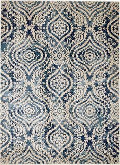 Navy Blue, Cream Morracan Transitional Area Rug Design w/ Soft Pile Light Blue Area Rug, Blue Area Rugs, Transitional Area Rugs, Trellis Pattern, Blue Color Schemes, Persian Carpet, Carpet Runner, Rugs In Living Room, Dining Rooms