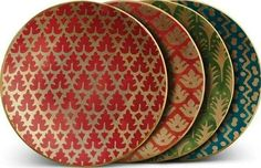 Spray paint the whole plate gold then have these designs in red over it or green. Can have the Indiana map over it