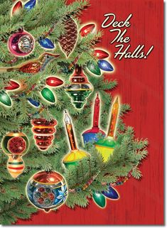 Our nostalgic Vintage Ornaments Christmas Card features bubble lights and vintage Christmas ornaments from the past. Vintage Christmas decorations on a classic evergreen tree with those mesmerizing bubble lights from the 1950s. 8 cards & envelopes $12.00