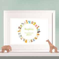 Personalised Print - Circle of Animals