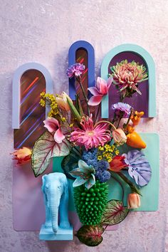 Neon Flowers, Faux Flowers, Dried Flowers, Teintes Pastel, Flower Installation, Neon Aesthetic, Arte Floral, How To Preserve Flowers, Paint By Number