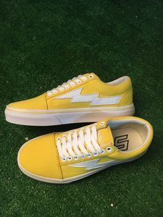 d71963d2f75d Revenge X Storm Vans Old Skool Lightning Canvas Shoes Yellow Skate Shoes