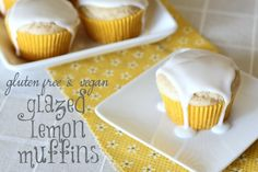 Gluten free glazed lemon muffins from Ask Anna