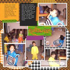 Family Album 2001: Halloween layout by Tina Shaw | Pixel Scrapper digital scrapbooking