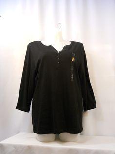 Karen Scott T-Shirt Plus Size 2X Solid Black Button V-Neck 3/4 Sleeves Pullover  #KarenScott #BasicTee
