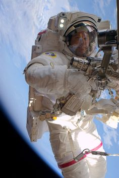 "NASA astronaut Tim Kopra on Spacewalk: View 4 | NASA Kopra: ""Working at the very end of ISS with Astronaut Tim Peake to repair our power system—spectacular view!"" Credit: NASA/JSC Date: January 15, 2016"