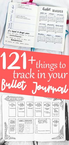 121 Habit Tracker Ideas For Bullet Journal: Habit Tracker Ideas and Inspiration. Learn how to track your habits along with helpful ideas with what to track. Bullet Journal Contents, Bullet Journal Tracker, Bullet Journal Spread, Bullet Journals, Bullet Journal Inspiration, Journal Ideas, Time Management Tips, Journal Layout, Planner Organization