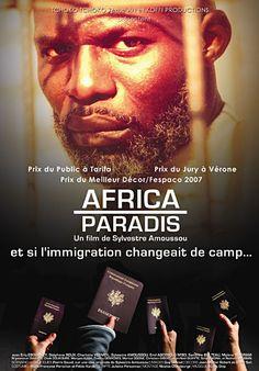 """DVD, Film: """"AFRICA PARADIS"""" de, par et avec Sylvestre AMOUSSOU Audio: Français Sous-Titre: English, Espanol SYNOPSIS: L'Afrique est entrée dans une ère de grande prospérité, tandis que l'Europe a sombré dans la misère et le sous - développement. Des Européens, vu leur situation déplorable en France, immigrent clandestinement en Afrique. A peine arrivés, ils sont arrêtés par la police des frontières et incarcérés dans une résidence de transit, en attendant d'être renvoyés en France."""
