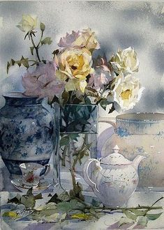 Geoffrey Wynne - watercolour still life painting with flowers Art Aquarelle, Watercolor Artists, Watercolor And Ink, Watercolour Painting, Watercolor Flowers, Painting & Drawing, Watercolors, Arte Floral, Illustration