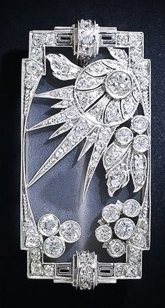 Diamond and Frosted Crystal Art Deco Brooch