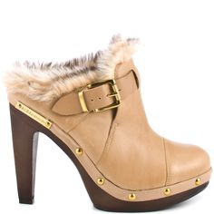 Clog it up in this retro inspired heel from BCBGeneration. Millard brings you a beige leather upper with faux fur and gold buckle detail. This mule clog is complete with a rounded toe, 4 inch block heel and 1 inch platform with stud detail.