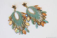 Compra Orecchini di perline e perline, turchese, oro (0425) nel negozio online presso la Fiera dei Maestri