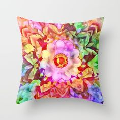 Painted Picturesque Flower Throw Pillow