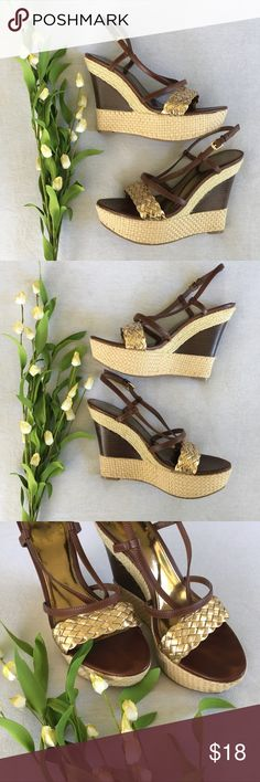 Audrey Brooke Wedges with Gold and Brown Accent Super cute Wedges in great condition. Size 6 Audrey Brooke Shoes Wedges