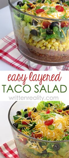 Easy Layered Taco Salad Recipe : Who doesn't love a great taco salad? This one is layered with all those Tex Mex favorites and topped with sour cream and loads of cheese.