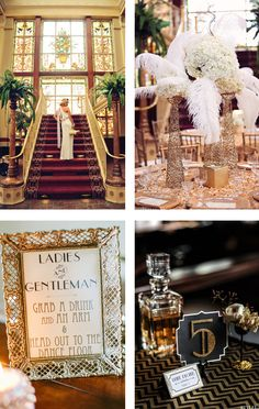 "A ""The Great Gatsby"" themed wedding. www.MadamPaloozaEmporium.com www.facebook.com/MadamPalooza"