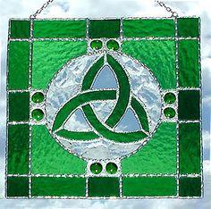 "Green Stained Glass Trinity Knot Suncatcher w/ Glass Nuggets -  8"" - $34.95 --- Celtic Designs, Irish Designs, Irish Sun Catchers - Glass Suncatchers, Stained Glass Décor, Stained Glass Sun Catchers -  Stained Glass Design - See more stained glass designs at www.AccentonGlass.com"