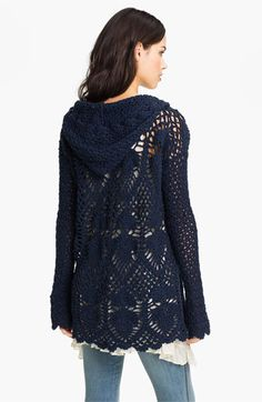 Free People 'Pacifica' Hooded Crochet Tunic | Nordstrom