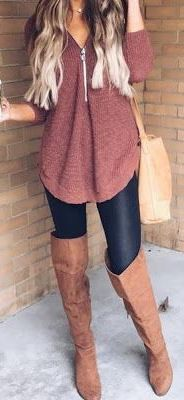 #Winter #Outfits / OTK Leather Boots + Salmon Sweater
