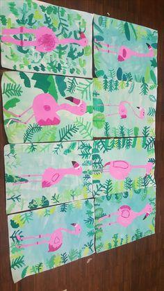 Une jungle de flamants roses Une jungle de flamants roses - nicole ni papier Diva Nails diva nails on and peoria Art 2nd Grade, Classe D'art, Primary School Art, Flamingo Art, Pink Flamingos, School Art Projects, Jungle Art Projects, Cute Art Projects, Art Lessons Elementary