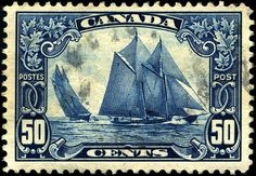 schooner postage stamp, Canada. with these great shades of blue ~  Would like a print of this