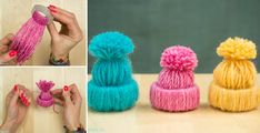 Wind yarn onto strips of toilet paper rolls to make these cute tiny hats!