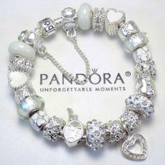 Authentic Pandora Silver Bracelet w/ White Winter Heart Love Murano Charm Beads Winter Wonderland!