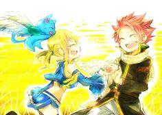 NaLu in Chibi form running in a field Fairy Tail Fairy Tail Art, Fairy Tail Guild, Fairy Tail Ships, Fairy Tales, Nalu, Gruvia, Chibi Natsu, Anime Chibi, Natsu Et Lucy